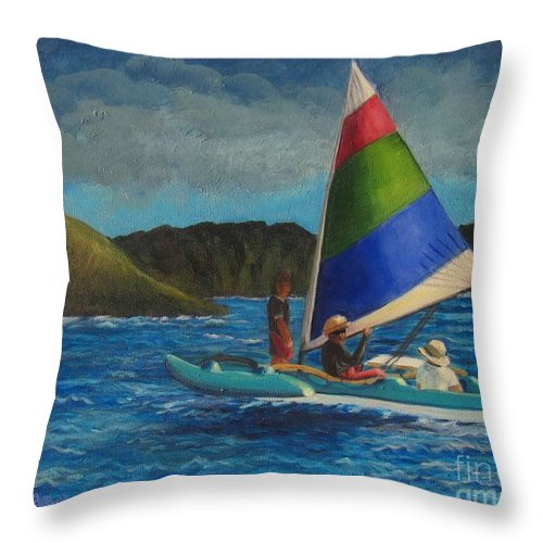 Sailboats Throw Pillow featuring the painting Last Sail Before The Storm by Laurie Morgan
