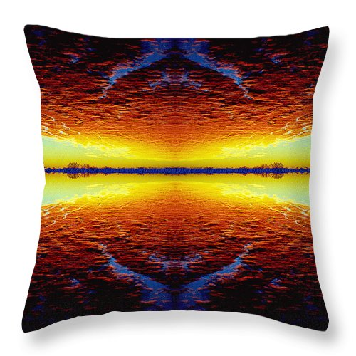 Sunset Throw Pillow featuring the photograph Last Sunset by Nancy Mueller