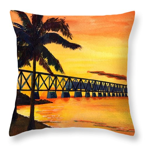 Florida Throw Pillow featuring the painting Last Train To Paradise by CB Woodling