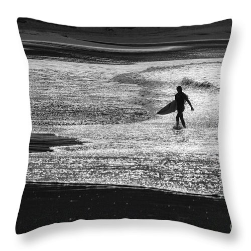 Surfer Throw Pillow featuring the photograph Last wave by Sheila Smart Fine Art Photography