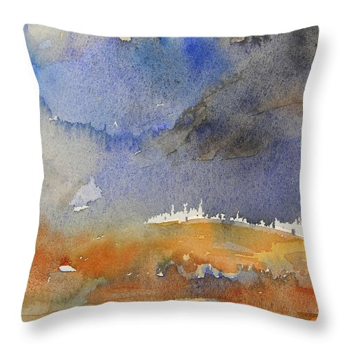 Watercolour Throw Pillow featuring the painting Late Afternoon 10 by Miki De Goodaboom