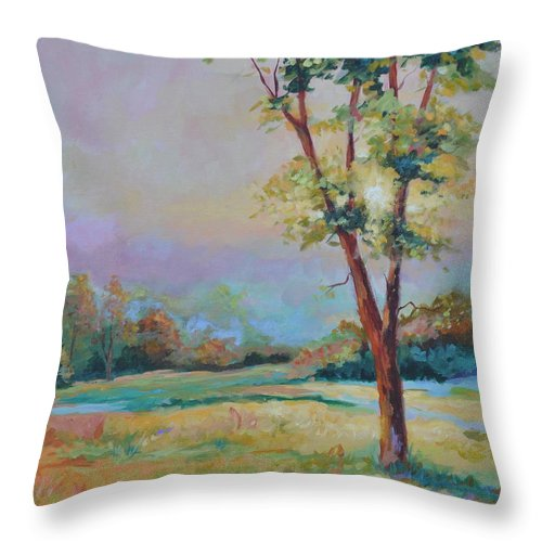 Pasture Throw Pillow featuring the painting Late Afternoon Dance by Ginger Concepcion