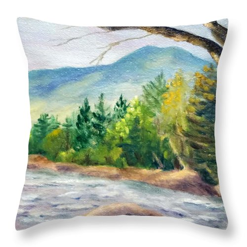 Saco River Throw Pillow featuring the painting Late Afternoon on the Saco by Sharon E Allen