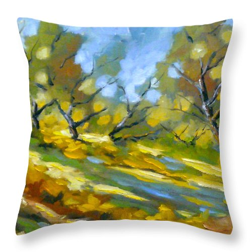 Original Painting; Oil; Landscape; Birches; Trees; Nature; Richard T Pranke; Lake Throw Pillow featuring the painting Late Afternoon by Richard T Pranke