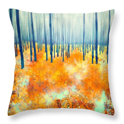 Abstract Color Autumn Trees Forest Textures Landscape Throw Pillow featuring the digital art Late Autumn by Katherine Smit
