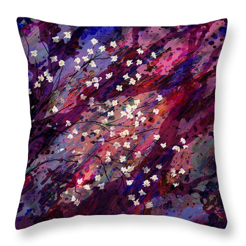 Abstract Throw Pillow featuring the digital art Late Bloomers by Rachel Christine Nowicki