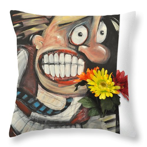 Flowers Throw Pillow featuring the painting Late For A Date by Tim Nyberg