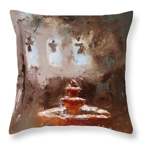 Water Throw Pillow featuring the painting Late Light by Barbara Andolsek