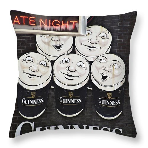 Guinness Throw Pillow featuring the photograph Late Night Guinness Limerick Ireland by Teresa Mucha