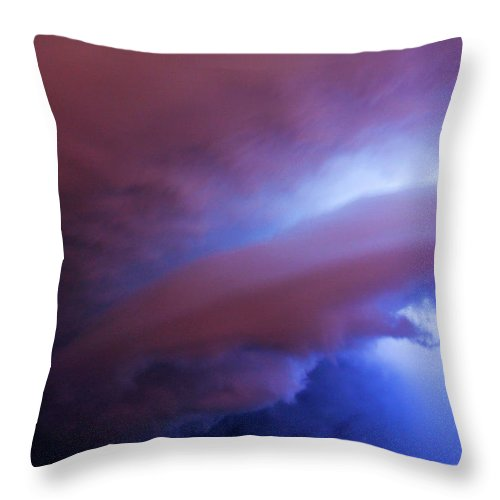 Nebraskasc Throw Pillow featuring the photograph Late Night Nebraska Shelf Cloud 004 by NebraskaSC