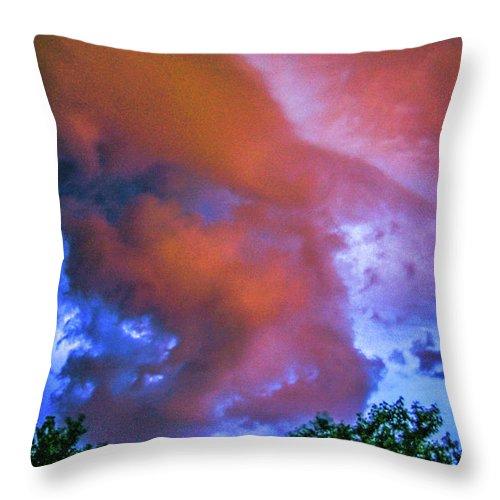 Nebraskasc Throw Pillow featuring the photograph Late Night Nebraska Shelf Cloud 010 by NebraskaSC