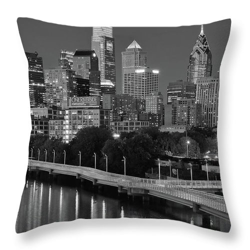 Philadelphia Throw Pillow featuring the photograph Late Night Philly Grayscale by Frozen in Time Fine Art Photography
