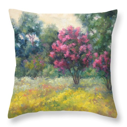 Landscape Throw Pillow featuring the painting Late Summer - Ladybird Lake Trail by Bunny Oliver