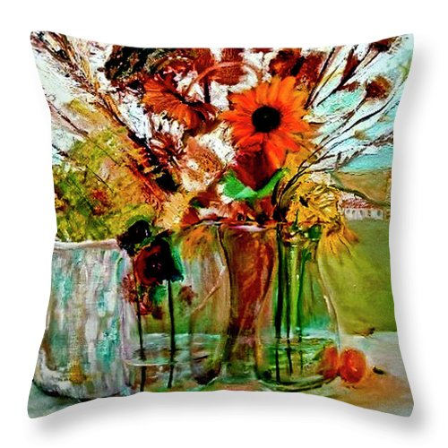 Flowers Jar Glass Thistle Picnic Green Lemon Rose Throw Pillow featuring the painting Late Summer by Jack Diamond