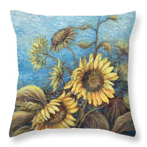 Sunflowers Throw Pillow featuring the painting Late Sunflowers by Valerie Meotti