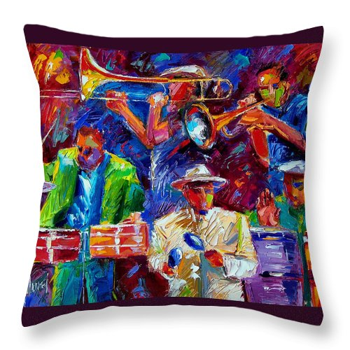 Jazz Throw Pillow featuring the painting Latin Jazz by Debra Hurd