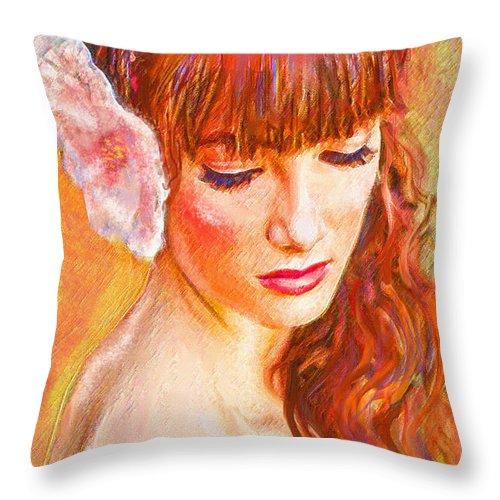 Jane Schnetlage Throw Pillow featuring the digital art Latina Beauty by Jane Schnetlage