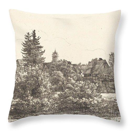Throw Pillow featuring the drawing Lauban In Silesia by Christoph Nathe