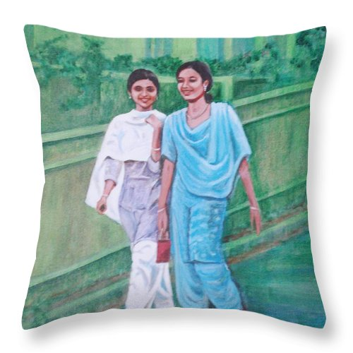 Throw Pillow featuring the painting Laughing Girls by Usha Shantharam