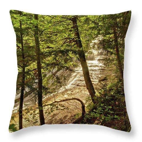 Laughing Whitefish Throw Pillow featuring the photograph Laughing Whitefish Falls 2 by Michael Peychich