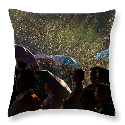 Rain Throw Pillow featuring the photograph Laughter In The Rain by Venetta Archer