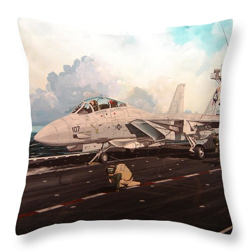 Military Throw Pillow featuring the painting Launch The Alert 5 by Marc Stewart