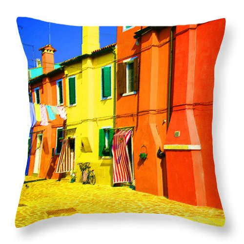 Burano Throw Pillow featuring the photograph Laundry Between Chimneys by Donna Corless
