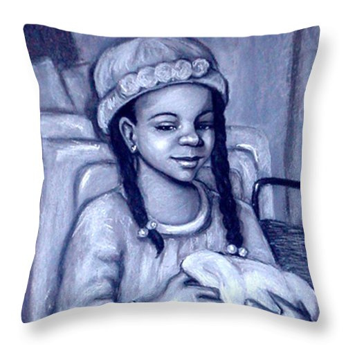 Black And White Throw Pillow featuring the pastel Laundry Day by Beverly Boulet