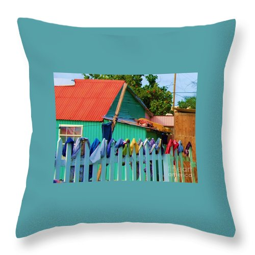 Clothes Throw Pillow featuring the photograph Laundry Day by Debbi Granruth
