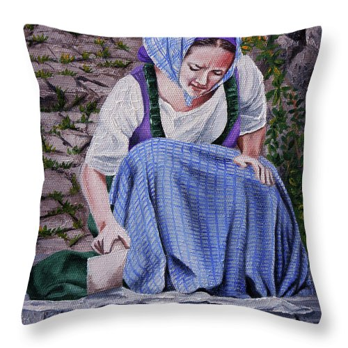 Laundry Throw Pillow featuring the painting Laundry Day by Rezzan Erguvan-Onal