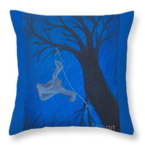 Night Throw Pillow featuring the painting Laundrys Nightmare by Emily Young