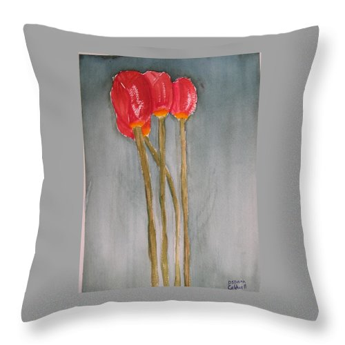 Tulip Flower Bouquet Throw Pillow featuring the painting Laura by Patricia Caldwell