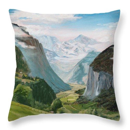 Switzerland Throw Pillow featuring the painting Lauterbrunnen Valley Switzerland by Jay Johnson