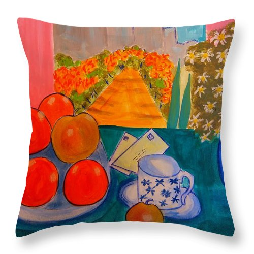 Les Alpilles Throw Pillow featuring the painting l'automne dans les Alpilles by Rusty Gladdish