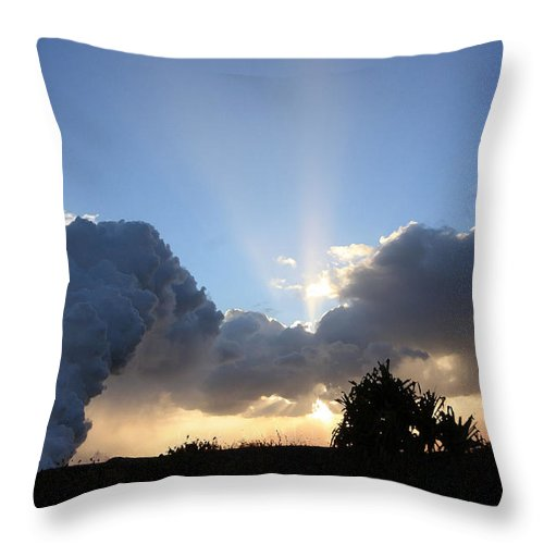 Volcano Throw Pillow featuring the photograph Lava Sunset by Mary Haber
