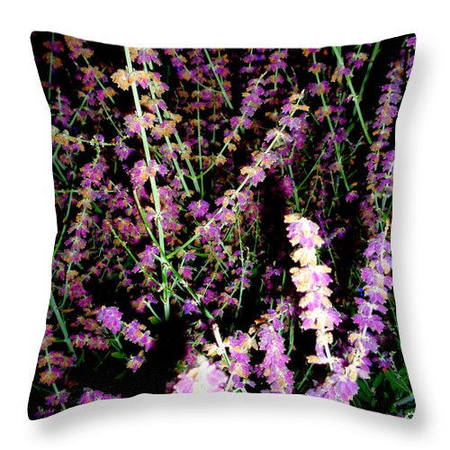 Abstract Throw Pillow featuring the photograph Lavander at night by J Andrel