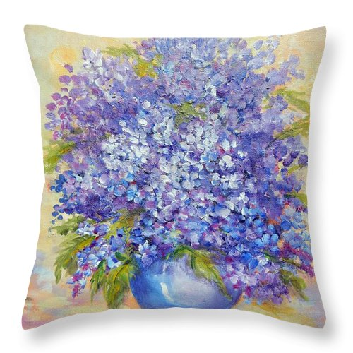 Plants Throw Pillow featuring the painting Lavender by Caroline Patrick