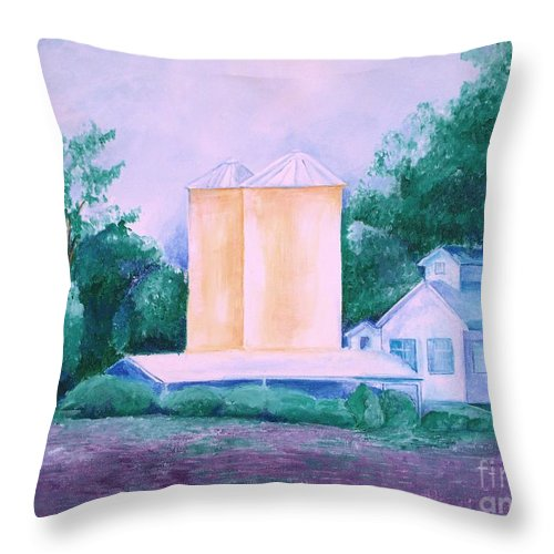 Western Throw Pillow featuring the painting Lavender Farm Albuquerque by Eric Schiabor
