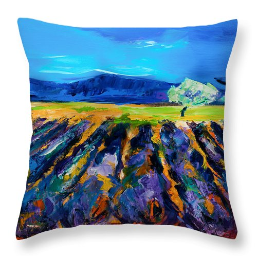 Lavender Throw Pillow featuring the painting Lavender Field by Elise Palmigiani