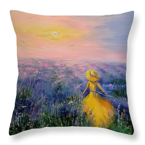Lavender Field Throw Pillow featuring the painting Lavender Field by Olha Darchuk