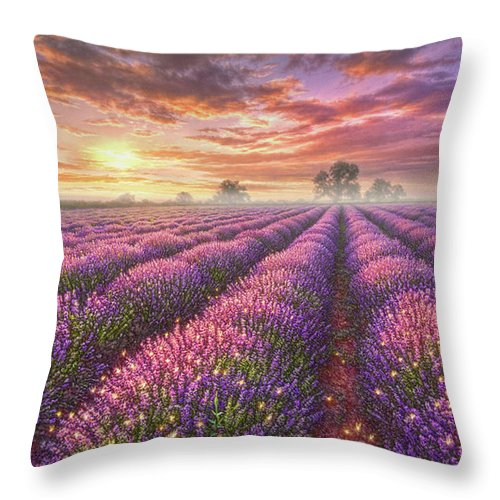 Lavender Throw Pillow featuring the painting Lavender Field by Phil Jaeger