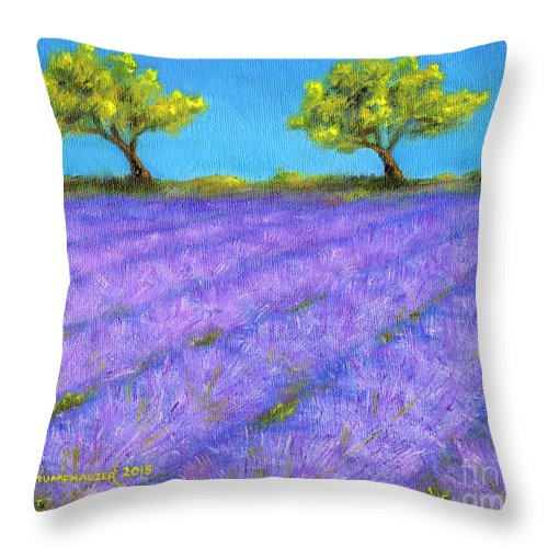 Lavender Throw Pillow featuring the painting Lavender Field With Twin Oaks by Jerome Stumphauzer
