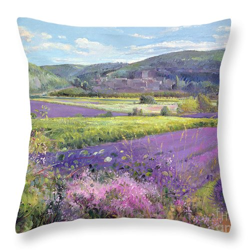 Field; South Of France; French Landscape; Hills; Hill; Landscape; Flower; Flowers; Field; Tree; Trees; Bush; Bushes; France; Provence Throw Pillow featuring the painting Lavender Fields in Old Provence by Timothy Easton