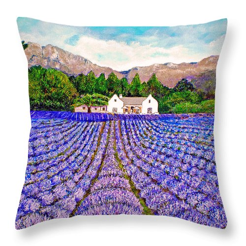 Lavender Throw Pillow featuring the painting Lavender Fields by Michael Durst