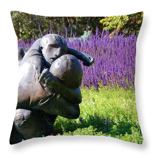 Statue Throw Pillow featuring the photograph Lavender Lovers by Debbi Granruth