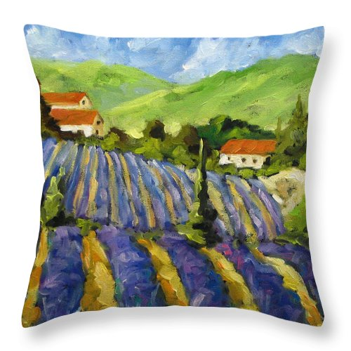 Art Throw Pillow featuring the painting Lavender Scene by Richard T Pranke