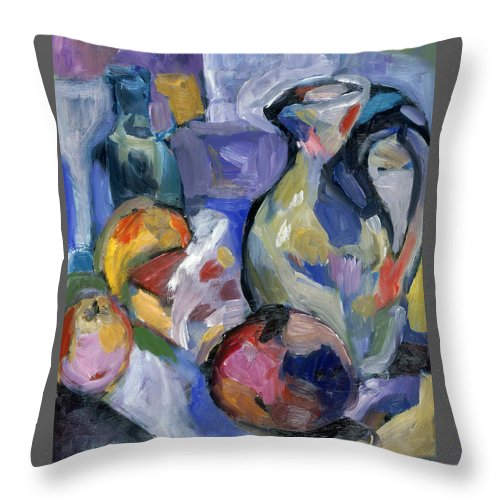 Still Life Throw Pillow featuring the painting Lavender Stillyf by Mykul Anjelo