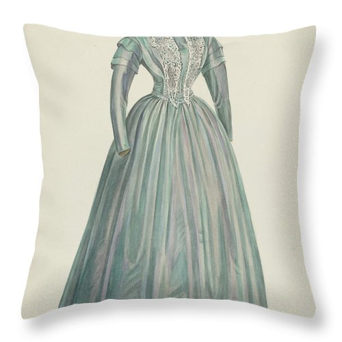 Throw Pillow featuring the drawing Lavender Taffeta Dress by American 20th Century