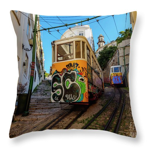 Lavra Throw Pillow featuring the photograph Lavra Funicular, Lisbon, Portugal by Karol Kozlowski