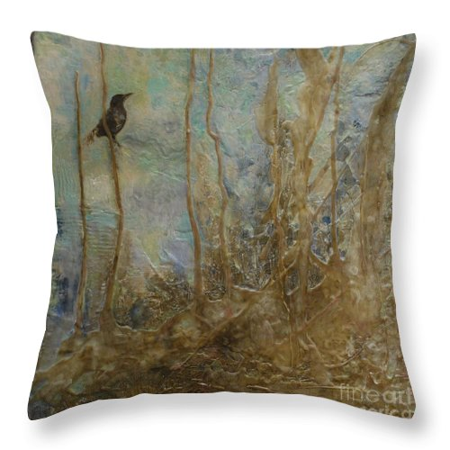 Bird Throw Pillow featuring the painting Lawbird by Heather Hennick